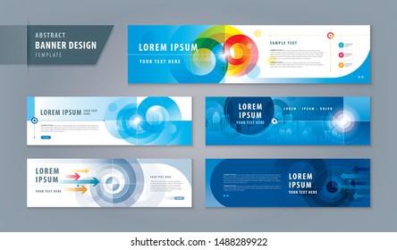 Abstract banner design web template Set, Horizontal header web banner. Modern Target cover header background for website design, Social Media Cover ads banner, social networks, Reach the target,