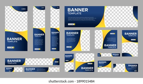 Abstract banner design web template Set, Horizontal header web banner. Modern Gradient Blue cover header background for website design, Social Media Cover ads banner, flyer, invitation card