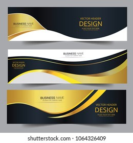 Abstract banner gold web header waves vector in gold colors. Abstract swoosh texture. banner background for web design. Can be adapt to Brochure, Annual Report, Magazine, Poster, website.