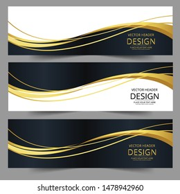 Abstract banner gold web header waves vector in gold colors. Abstract swoosh texture.