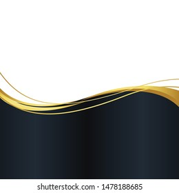 Abstract banner gold web banner waves vector in gold colors. Abstract swoosh texture.