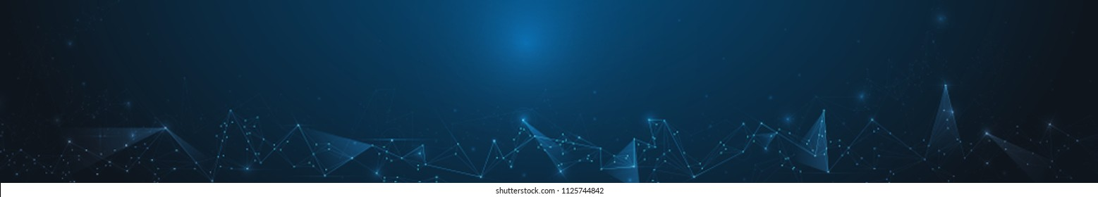 Abstract banner Molecules with Circle, Line, Geometric, Polygon,Triangle pattern. Vector design network communication technology on dark blue background. Futuristic digital, science technology concept