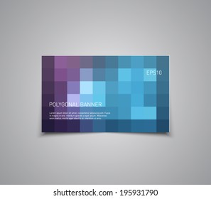 Abstract banner with mosaic pattern background, polygonal style design. Clean, modern and futuristic
