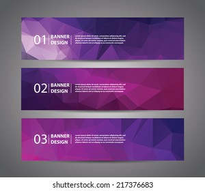 Abstract banner with polygon background, banner vector with sample text