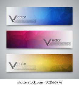 Abstract banner with polygon background. Vector
