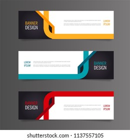 Abstract banner template design. Horizontal advertising banner.