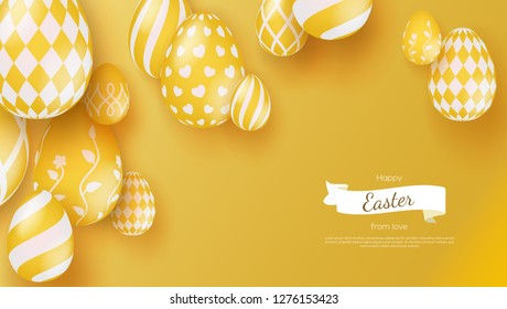 Abstract banner with three-dimensional Easter eggs in modern 3d style. Trendy minimalistic color and textures. Eggs decorated Easter spring patterns. Vector 3d template for invitation, cover, leaflet.