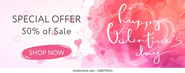 Abstract banner in watercolor style for valentine's day with lettering and doodle hearts.