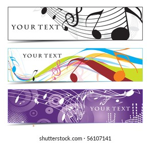 Abstract banners on music note, multi-colored, vector illustration.