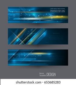 Abstract banners set with image of science innovation concept. Image of circuit board, arrow sign, light rays, stripes lines with blue light, speed movement, motion blur over dark blue background