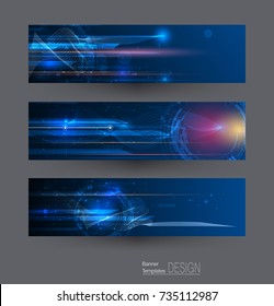 Abstract banners set with image of speed movement pattern and motion blur over dark blue color. Science, futuristic, energy technology concept. Vector background for web banner template or brochure