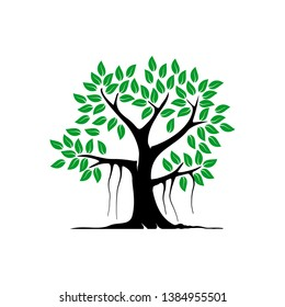abstract banyan tree vector illustration. mangrove tree symbol vector isolated