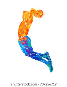 Abstract basketball player with ball from splash of watercolors. Vector illustration of paints.