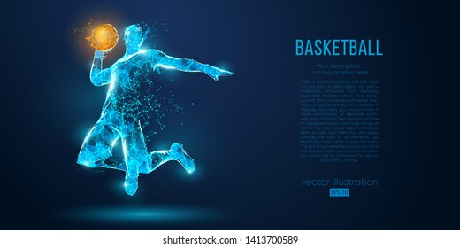 Abstract basketball player on blue background