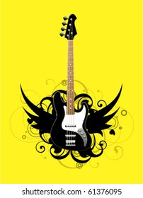 Abstract with bass guitar on a yellow background