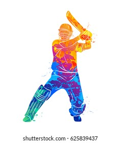 Abstract batsman playing cricket from splash of watercolors. Vector illustration of paints.