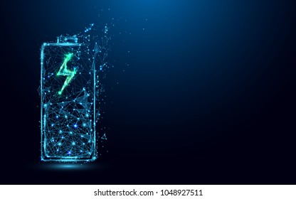 Abstract Battery Charging Icon form lines and triangles, point connecting network on blue background. Illustration vector