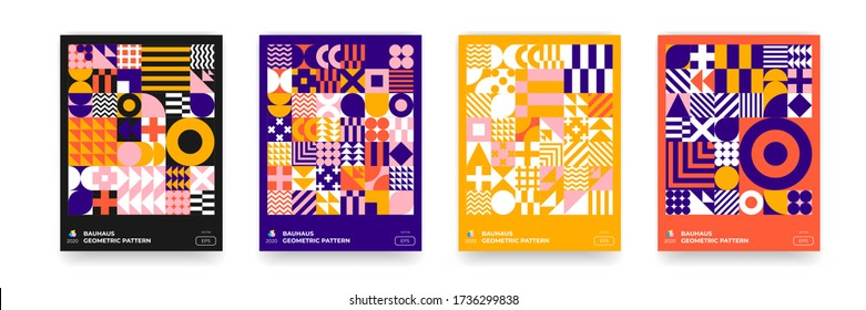 Abstract Bauhaus background, vector geometric pattern circle, triangle and square lines art design. Color Bauhaus Swiss pattern backgrounds, posters set
