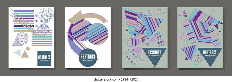 Abstract Bauhaus geometric pattern background, vector circle, triangle and square lines art design. Universal abstract layouts. Applicable for notebooks, planners, brochures, books, catalogs etc.