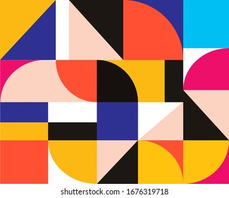 Abstract bauhaus pattern design. Minimal geometric shape. Vector pattern design in Scandinavian style for web banner, business presentation, branding package, fabric print, wallpaper. Eps 10 vector