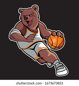 Abstract Bear Basketball Mascot Logo