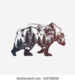 Abstract bear and forest