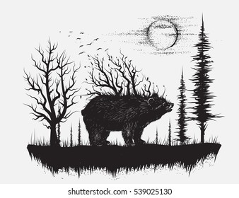 Abstract bear in the strange forest.View of nature.Hand drawn vector illustration