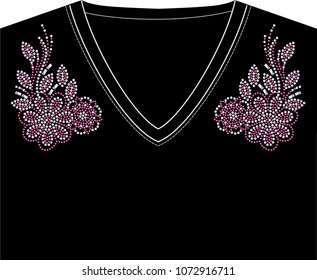 Abstract beautiful applique rhinestones, Rhinestone applique for t-shirt hot-fix transfer, Motif neck line design graphics. Idea for t-shirt design.