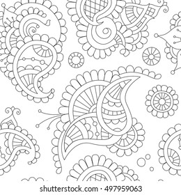 abstract beautiful buta seamless pattern, indian paisley motifs, hand drawn vector illustration