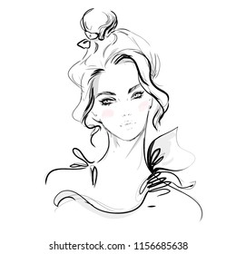 Abstract beautiful girl face vector fashion illustration. Hand drawn black and white sketch.
