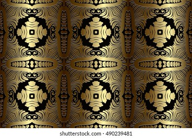 abstract beautiful golden seamless pattern Victorian on a dark background