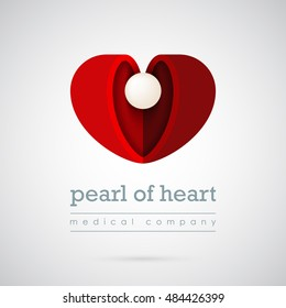 Abstract beautiful heart with pearl in center logo template. For medical clinics and cardiac centers. Creative symbol for company identity, advertising, poster, leaflet, banner, web and flyer.