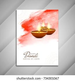 Abstract beautiful religious Happy Diwali brochure design