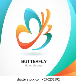 Abstract beautiful tropical butterfly symbol on colorful background. Logo design template. Concept for beauty salon, cosmetic and spa. Sign the letter B.