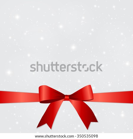 abstract beauty christmas and new year background with snow snowflakes red bow and ribbon