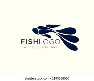 abstract beauty fish logo, betta fish logo