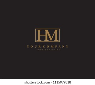 Abstract Beauty Letter HM Logo Design