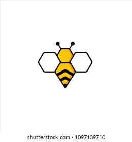 abstract bee concept logo