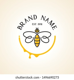 Abstract bee logo with continuous line style in yellow semicircle