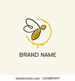 Abstract bee logo with simple line style in yellow circle