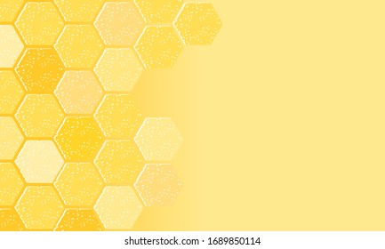 Abstract beehive with hexagon grid cell on yellow background vector illustration.
