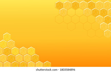 Abstract beehive with hexagon grid cells on yellow background vector illustration.