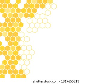 Abstract beehive with hexagon grid cells on white background vector illustration.