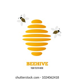 Abstract beehive logo with bees flying around. Business trademark idea.