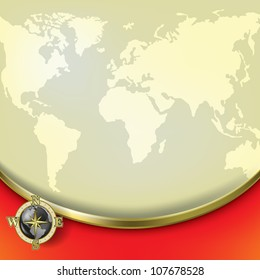 Abstract beige background with earth map and compass