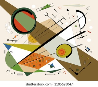 Abstract  beige background ,fancy  geometric and curved brown shapes , expressionism art style