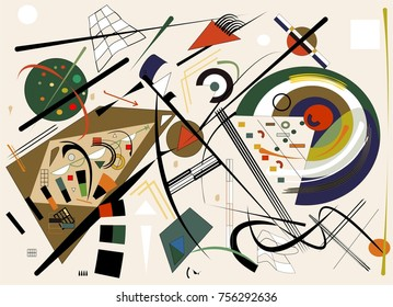 Abstract  beige background ,fancy  geometric and curved shapes , expressionism art style