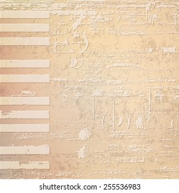 abstract beige grunge background with piano keys