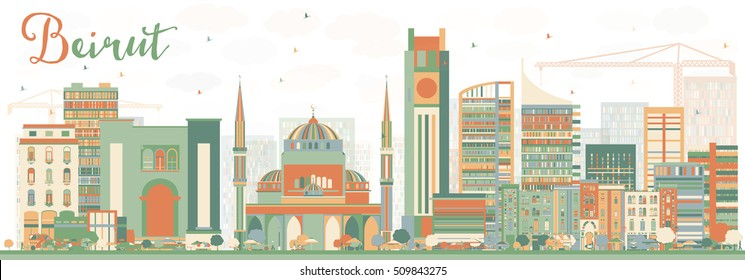 Abstract Beirut Skyline with Color Buildings. Vector Illustration. Business Travel and Tourism Concept with Modern Architecture. Image for Presentation Banner Placard and Web Site.