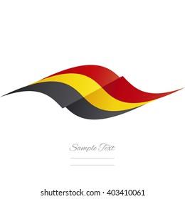 Abstract Belgian flag ribbon logo white background